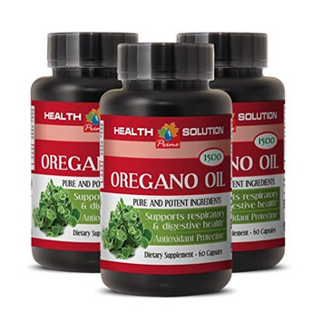 Respiratory support and defence - PURE OIL OF OREGANO EXTRACT 1500 Mg - Fat burner Oregano - 3 Bottles 180 Capsules