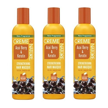 [ VALUE PACK OF 3] CREME OF NATURE Acai Berry & Keratin Strengthening Hair Masque 12OZ: Beauty