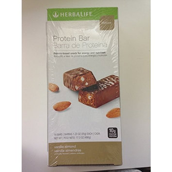 Herbalife Protein Bar Deluxe - Packed with Essential Vitamins and 10g of Protein for Healthy Snacking - Vanilla Almond 14 ct. [14 Bars Per Box, 1.23oz/35g Each]