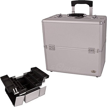 Casemetic 3-Tiers Easy Slide Trays Silver Dot Pattern Professional Rolling Makeup Case with Dividers Model No. CCAR05