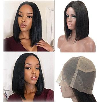 Straight Full Lace Human Hair Wigs Natural Hairline 130% Density for Black Women, Veer Brazilian Virgin Hair with Natural Baby Hair Wigs Natural Color 12inch (#1B)