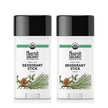 Nourish Organic Forest Deodorant Stick (Pack of 2) With Sweet Almond, Vitamin E, Coconut Oil and Acai Fruit Oil, 2 oz Each