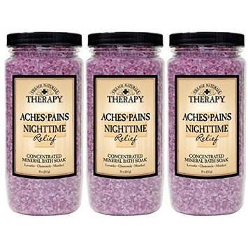 Village Naturals Therapy Aches and Pains Nighttime Relief Mineral Bath Soak 20oz 3 pack (3) by Village Naturals Therapy