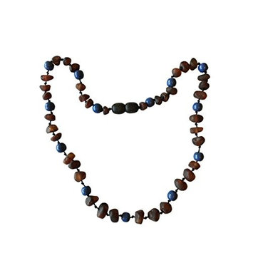 Raw Baltic Amber and Aquamarine+Lapis Lazuli INNER PEACE and FOCUS Necklace - Pain Relief From Teething - Unisex- Safely Knotted Beads (Cognac Aquamarine Lapis)