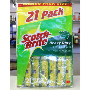 3M Scotch-Brite Heavy Duty Scrub Sponges, 21 Pack