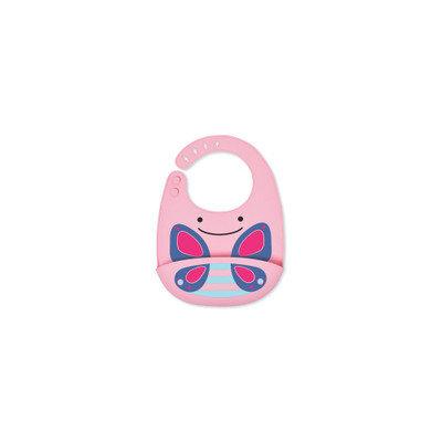 Skip Hop Animal Fold & Go Silicone Bib, Pink