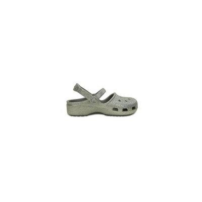 Crocs Silver Girls' Crocs Karin Sparkle Clog Shoes