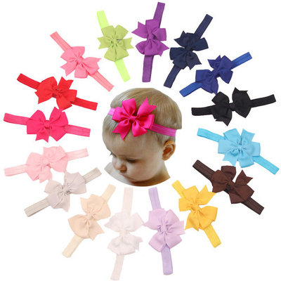 Coxeer 15PCS Baby Girls Grosgrain Ribbon Hair Bows V-Shape Alligator Clips Fashion Headbands for Kids
