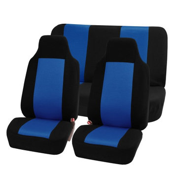 Fh Group FH-FB102112 Classic Cloth Car Seat Covers, Full Set with Solid Bench, Blue / Black