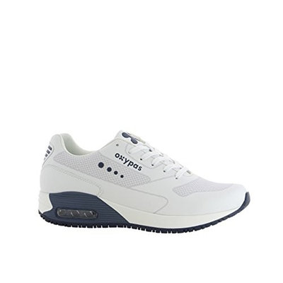 Oxypas Oxysport 'Justin' Comfortable Leather Professional Trainer Style Shoe With Anti-Slip and Anti-Static [White With Navy Trim, 41 EU]