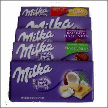Milka Chocolate - 10 Bars (2 of each - alpine, strawberry yogurt, hazelnuts, white, happy cows)