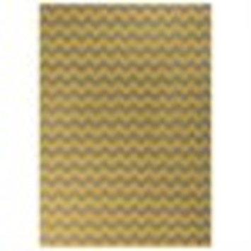 8' x 11' Valiant ZigZag Gray and Yellow Reversible Woven Wool Area Throw Rug