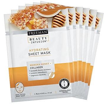 Beauty Infusion Freeman, Hydrating Manuka Honey + Collagen Sheet Mask, 6 Count [Hydrating Manuka Honey + Collagen Sheet Mask]