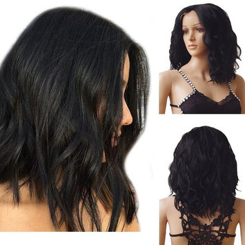 Glueless Lace Front Bob Wig 1b Wavy U Part Synthetic Lace Wig Fluffy Natural Loose Deep Invisible with Natural Hairline Curly Short Medium Body Wave,#1B Natural Black
