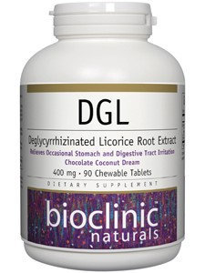 Bioclinic Naturals - DGL Chocolate Coconut Dream 400 mg. - 90 Chewable Tablets