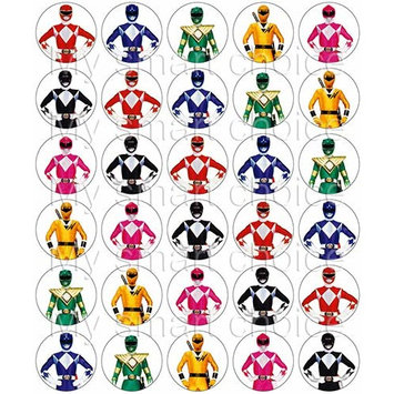 30 x Edible Cupcake Toppers – Power Rangers Themed Collection of Edible Cake Decorations | Uncut Edible Prints on Wafer Sheet