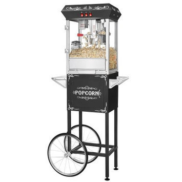 Great Northern Popcorn Company Great Northern Black Foundation 8oz Full Popcorn Popper Machine w/Cart, 8 Ounce