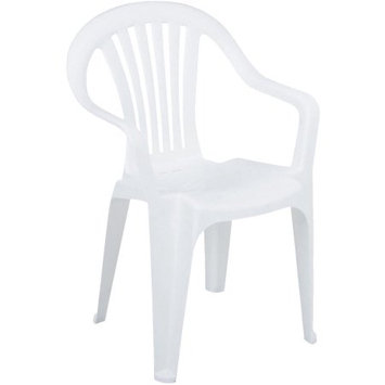 Adams Mfg Corp White Slat Seat Resin Stackable Patio Dining Chair 8234-48-4700