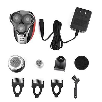Electric Shaver Razor, 5 in 1 Rechargeable Hair Beard Trimmer Shaving Machine Three Head Shaver, Nose Ear Trimmer and Facial Cleaning Brush Men's Grooming Kit