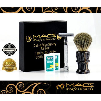 MACS PROFESSIONAL- Safety Razors Set -Include Shaving Brush-With 20 Derby Blades-Chrome Finish 4Inch Long Handle -Rust Free and Unbreakable-Complete Set-2048