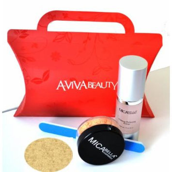 Mica Beauty Mineral Foundation Mf-1 Porcelain+ Travel Size Foundation + Perfecting Primer + A-viva Eco Nail File + Red Box