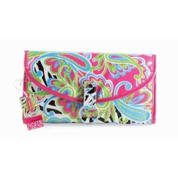 Mud Pie Wild Paisley Blue, Green, Pink & Black Hanging Travel Jewelry Cosmetic Case and Toiletry Bag