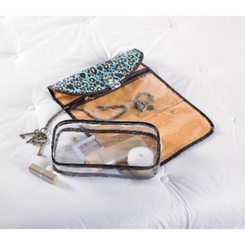 Mud Pie Leopard Lagoon Hanging Travel Jewelry Cosmetic Case and Toiletry Bag