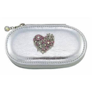 Heart Silver Small Make up Brush Case Set of 5 Small Brushes