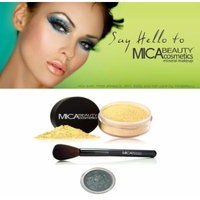 Mica Beauty Mineral Foundation Brush & Powder Mf9 Chocolate Kisses+ Mica Eye Shadow Shimmer #34 Harl Guin+ Holiday A-viva Nail Kit W/ Box