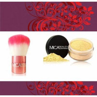 Mica Beauty Premium Pink Kobuki Brush + Mica Mineral Foundation Powder Color: Mf3 Toffee + A-viva Shiny Nail Kit Include:Magic 4Way Nail Buffer+Eco Nail File+Red Box