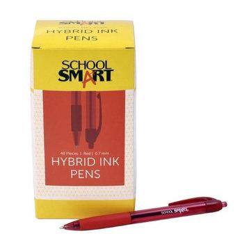 School Smart 1572358 0.7mm Pen Grip Hybrid Ink Red - Pack of 48