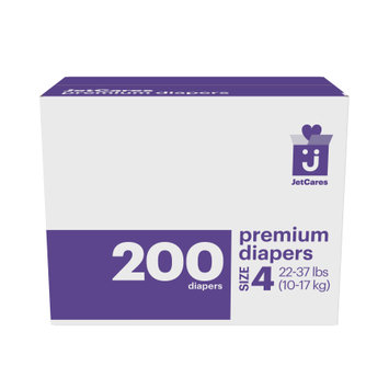 First Quality Consumer Products Jetcares Diapers, One Month Supply, Size 4, 200ct