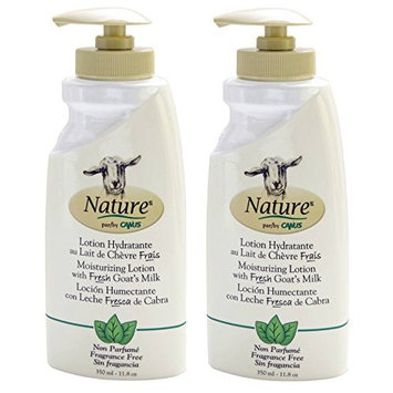 Canus Nature Fragrance Free Moisturizing Lotion (Pack of 2) with Goat Milk and Soybean Oil, 11.8 oz. each