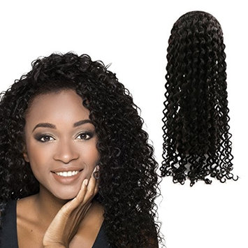 Uxcell Deep Curly Wigs Front Width Baby Hair Free Part Hand Tied Swiss Lace, 18 Inch