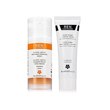 REN Skincare Glycol Lactic Radiance Renewal Mask and 1 Minute Flash Rinse Bundle With Grape and Lemon Fruit Extract, Vitamin C and Orange Flower Oil, 1.7 fl. oz. and...
