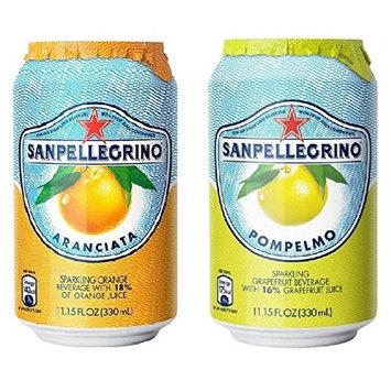 San Pellegrino Sparkling Beverage, Orange, Grapefruit Variety, 11.15 floz cans 24 count