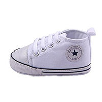 WAYLONGPLUS Infant Cute Canvas Sneaker Toddler Prewalker Anti-skid Soft Trainer Shoes (White, Size 12)