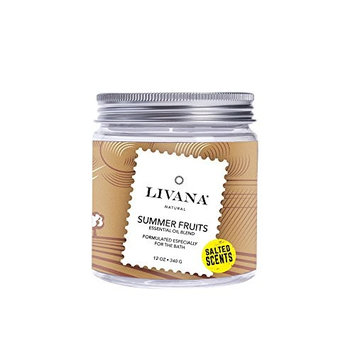 Summer Fruits Signature Essential Oil Salted Scents Blend by Livana, 12oz, Fragrant salts for Bath, Aromatherapy [Summer Fruits]