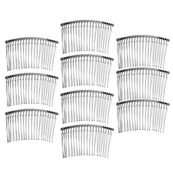 MagiDeal 10 Pieces Vintage Handmade DIY Wire Comb Metal Hair Combs Base 4 Colors Plated Women's DIY Wedding Bridal Hair Jewelry - silver
