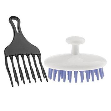 MagiDeal Afro Hair Pick Comb Detangle Wig Styling Lift Hairbrush+Shampoo Scalp Brush