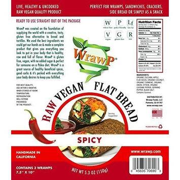 Raw Vegan Flat Bread, Spicy, Paleo, 5.3 Oz, 3 Wraps by WrawP Foods