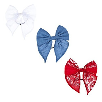 Lux Accessories Set of 3 Elastic Bow Hair Ties Denim White Chiffon Red Bandana