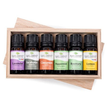 Essential oil sampler gift set in box (set #4). 6 - 10 ml ea. Includes 100% Pure, Undiluted, Therapeutic Grade Essential Oils of Lemon, Cinnamon Cassia, Peppermint Supreme, Eucalyptus Globulus and Lavender, Rosemary.
