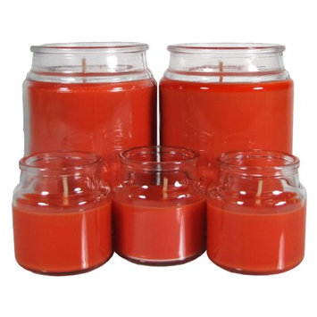 Lancaster Colony Mainstays 5 pc Value Pack Jar Candle Cranberry Mandarin, Orange
