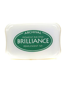 Tsukineko Brilliance Archival Pigment Ink pearlescent ivy, 3.75 in. x 2.625 in, pad [pack of 2]