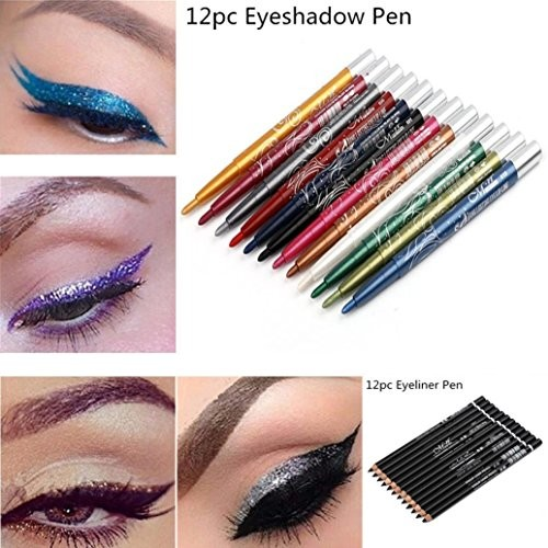 OUBAO Beauty Makeup 12 Color Eyeshadow Eyeliner Color Pencil Glitter Cosmetic Multi-Use Waterproof Shimmer Eyeshadow Pen Set Eyeshadow Stick