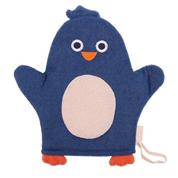 JUNKE Soft Baby Bath Glove Towel Cute Cartoon Puppet Blue Penguin Shaped Shower Wash Mitts for Newborn Toddler Kids Children