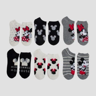Women's Disney Mickey Mouse & Friends Minnie Mouse No Show 6pk Casual Sock - Colors Vary 9-11