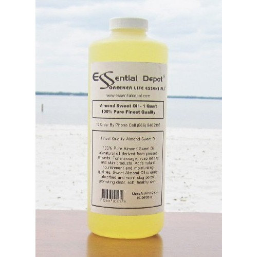 Almond Oil Sweet Oil - 1 Quart - 32 oz - 100% Pure and Natural - Great for Massage, Hair, and Skin