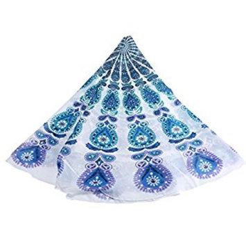 Leegoal(TM) Popular Round Mandala Roundie Beach Throw Tapestry Hippy Hippie Boho Gypsy Chiffon Tablecloth Beach Towel,Green-White